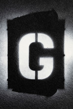 Letter G Grunge Spray Paninted Stencil Font