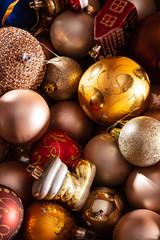 Christmas balls on the blac...