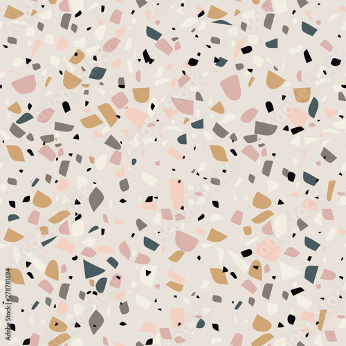 Vector terrazzo background of marble texture. Granite stone seamless pattern. Texture of classic italian type of floor in Venetian style composed of natural stone, granite, quartz, marble, concrete.