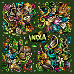 Colorful vector hand drawn doodles cartoon set of India combinations