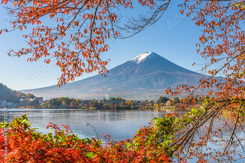 Mt. Fuji, Japan on Lake Kawaguchi with autumn foliage