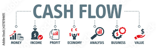 Obraz Banner CASH FLOW concept with icons - fototapety do salonu