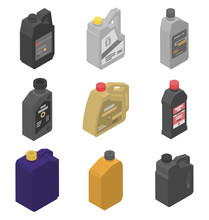 Motor Oil Icons Set. Isometric Set Of Motor Oil Vector Icons For Web Design Isolated On White Background
