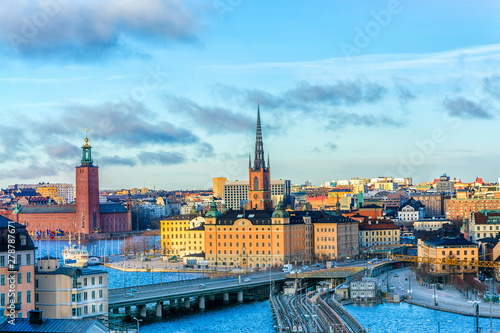 Cityscapes of the city of Stockholm and a panoramic view of the Old Town (Gamla Wallpaper Mural