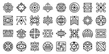 Alchemy Icons Set. Outline Set...