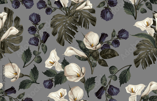 Valokuva Elegant pattern of blush toned rustic flowers isolated in a solid background great for textile print, background, handmade card design, invitations, wallpaper, packaging, interior or fashion designs