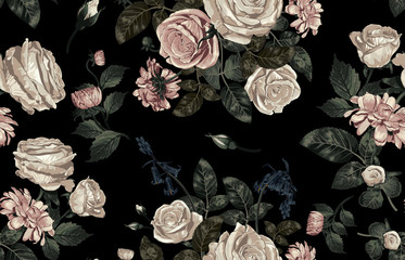 Panel Szklany Kwiaty Elegant pattern of blush toned rustic flowers isolated in a solid background great for textile print, background, handmade card design, invitations, wallpaper, packaging, interior or fashion designs.