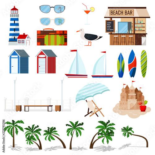 Slika na platnu Summer holiday set isolated on white background: sailboat, surf board, sand castle, chaise lounge, hut, seagull, beach bar, palms