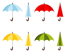 Set Of Colored Flat Design Vector Illustration Of Classic Elegant Opened And Closed Blue, Red, Yellow, Green Umbrella Cane Icon