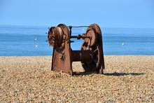 A Rusty Old Fishing Winch On B...