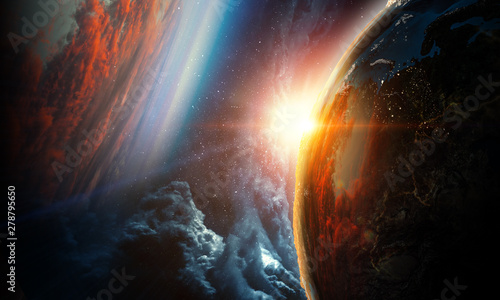 Abstract planets on space texture