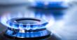 Leinwandbild Motiv kitchen gas cooker with burning fire propane gas