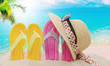 Leinwandbild Motiv hated sandals on the beach in summer, holidays