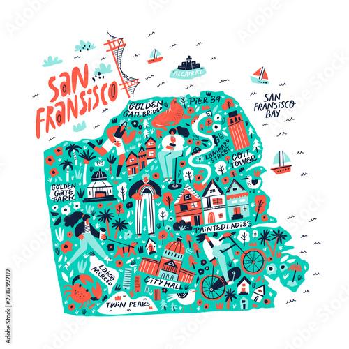 San Francisco creative travel map flat hand drawn ...