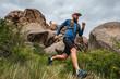 Leinwanddruck Bild - Male runner running on a mountain trail