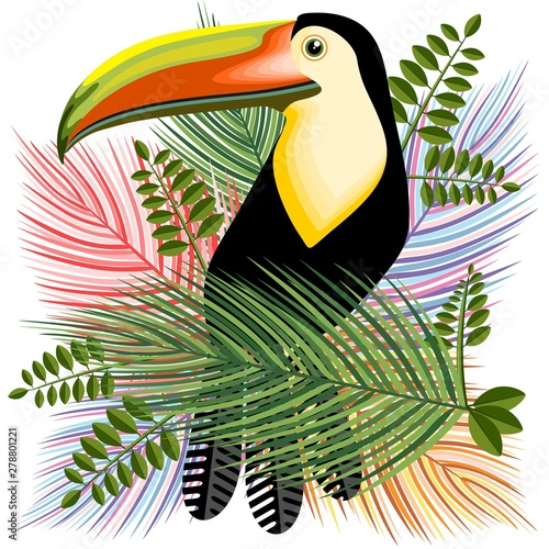 Poster de jardin Draw Toucans Hawaiian Summer Mood Vector Illustration