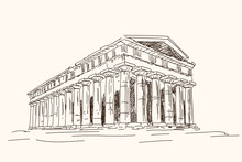 Old Ruined Ancient Greek Temple With Columns. Quick Pencil Sketch.