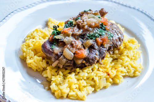 Osso Buco, Veal Shanks that are Braised in Wine with Milanese Saffron Risotto Wallpaper Mural