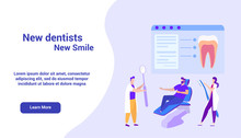 Image Dentists On Monitor. Online Course. Vector.