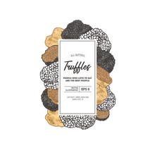 Truffle Mushroom Vertical Design Template. Packaging Composition. Vector Illustration