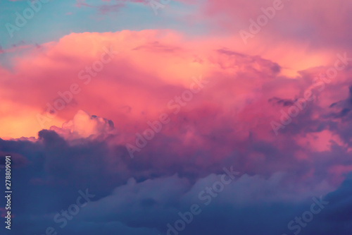 sunset sky with large multi-colored clouds #278809091