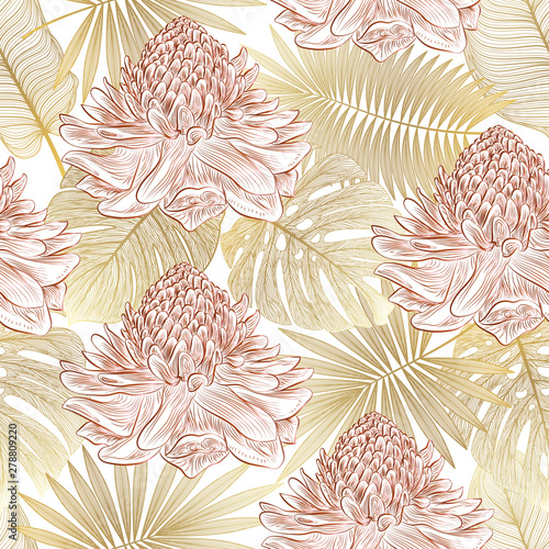 Seamless pattern with tropical leaf palm and flowers Ginger. Vector illustration.