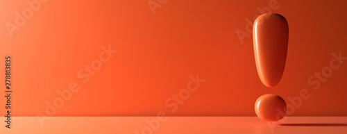 Fotografie, Obraz  Exclamation mark on orange color wall background. 3d illustration