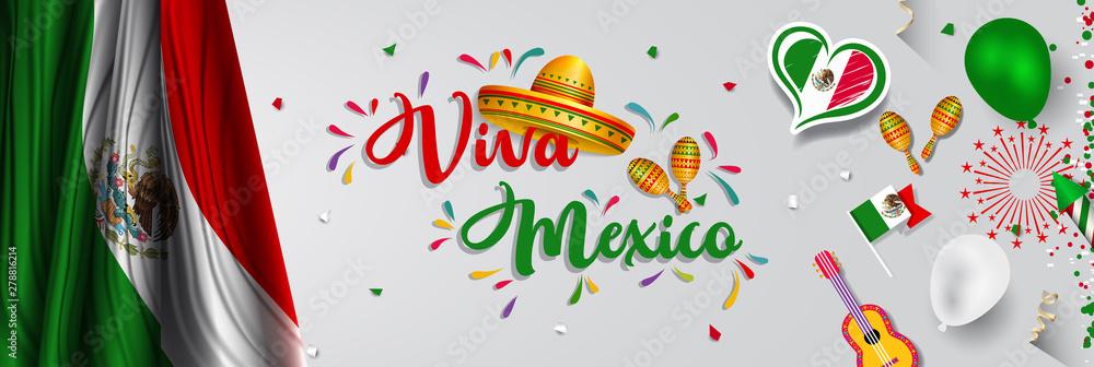 Fototapety, obrazy: Mexico Independence Day (Viva Mexico).