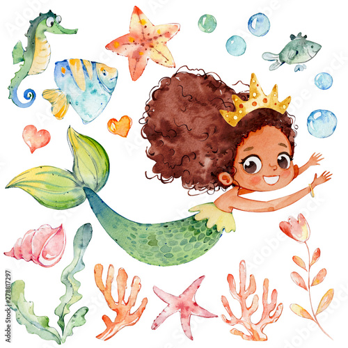 Cute Mermaid Watercolor African Character Set Wall mural