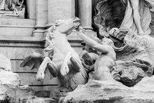 White Marble Statue Of Triton With Wild Horse, Part Of Trevi Fountain, Rome, Italy