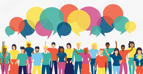 Leinwand Poster Diverse people team with social chat bubbles