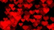 Heart glittering particle background. Abstract glitter defocused gold background. Seamless looping animation.