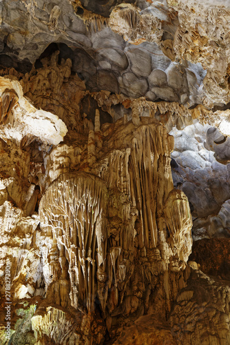 Stalactites and flow stones in a marble cave