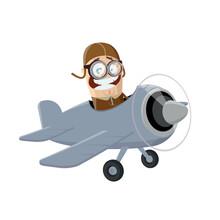 Funny Cartoon Man Flying In A ...