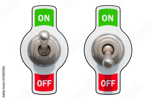 Canvas Print Toggle Switches on and off, 3D rendering
