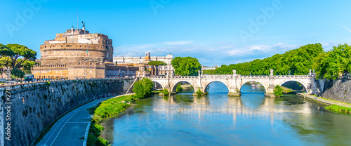 Castel Sant'Angelo and Ponte Sant'Angelo - bridge over the Tiber River, Rome, Italy - 278831686