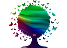 Butterflies Decorative Colorful Composition With Silhouette Portrait Woman. Beauty Center Concept, Hairstyle Salon, Spa. Swarm Of Butterflies Headdress In Curly Coiffed. Logo Beautiful Afro Woman