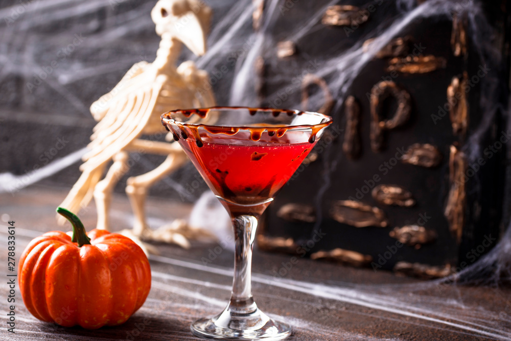 Fototapety, obrazy: Halloweens drink red martini cocktail