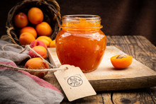 Apricot Jam And Apricots, Sign 'made With Love' On Dark Wood