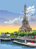 Fototapeta Fototapety z wieżą Eiffla - Colorful vector hand drawing Paris 3