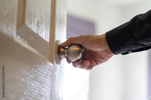 Photo  Man hand holding door knob
