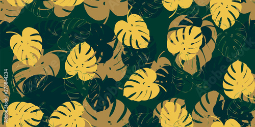 Tuinposter Vlinders Retro monstera tropical seamless vector pattern with monstera's foliage background. Exotic wallpaper