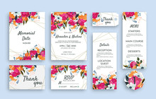 Wedding Suite Template Decorate With Beautiful Lowers. Including Memorial Date Card, Invitation Card, Wedding Menu, Response Card And Thank You Card. Vector Illustration.