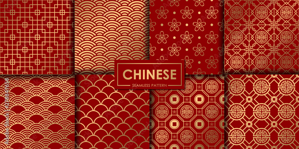 Fototapeta Golden chinese seamless pattern collection, Abstract background, Decorative wallpaper.