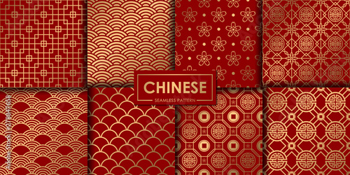 Fototapeten Künstlich Golden chinese seamless pattern collection, Abstract background, Decorative wallpaper.