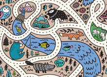 Seamless Pattern Of Forest Landscape Map With Roads, Wild Animals, River And Mountain. Vector Illustration.