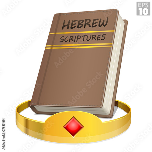 фотография Hebrew scriptures Bible within the gold crown of King David to show the promise of prophecy in Ezekiel