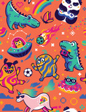 Fototapeta Dinusie - Seamless pattern with cute kawaii animals and monsters in the galaxy