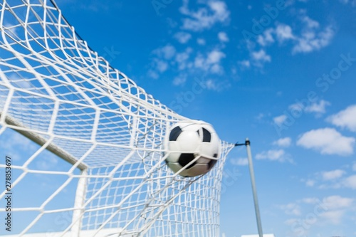 Fototapety, obrazy: A Soccer Ball in a Net