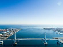 吊り橋と海 空撮